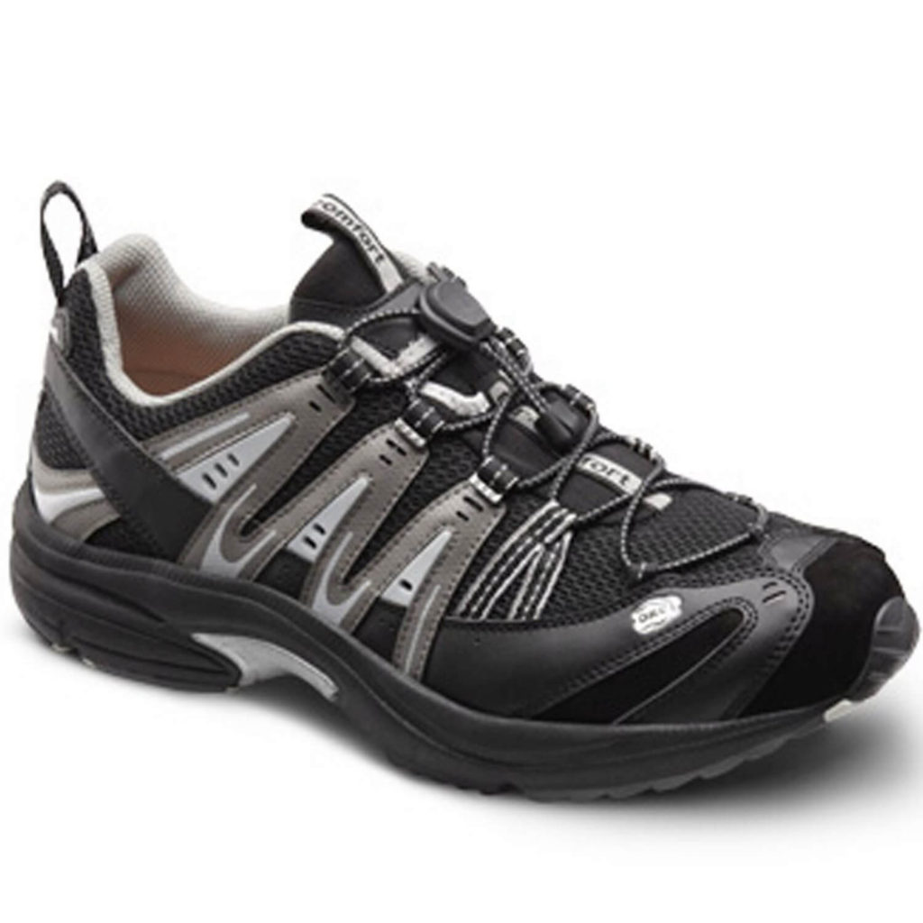 Dr Comfort Men's Performance X Black Grey Diabetic Athletic shoe
